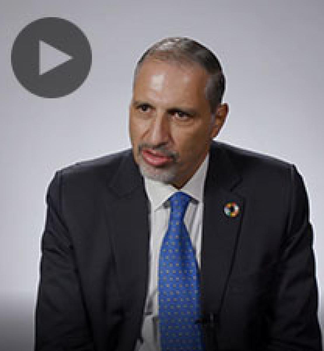 Screenshot from video message shows Resident Coordinator, Amin El Sharkawi