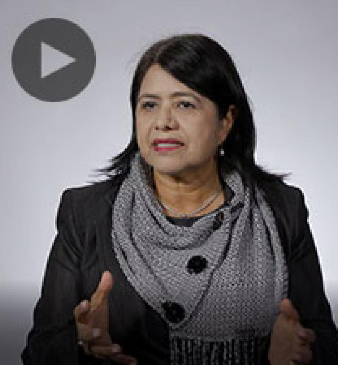 Screenshot from video message shows Resident Coordinator, Rebeca Arias Flores