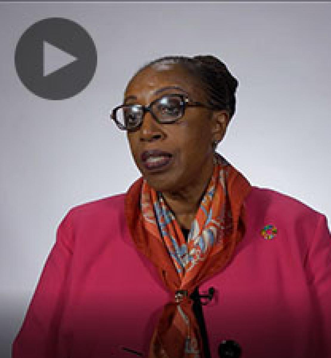 Screenshot from video message shows Resident Coordinator, Mbaranga Gasarabwe
