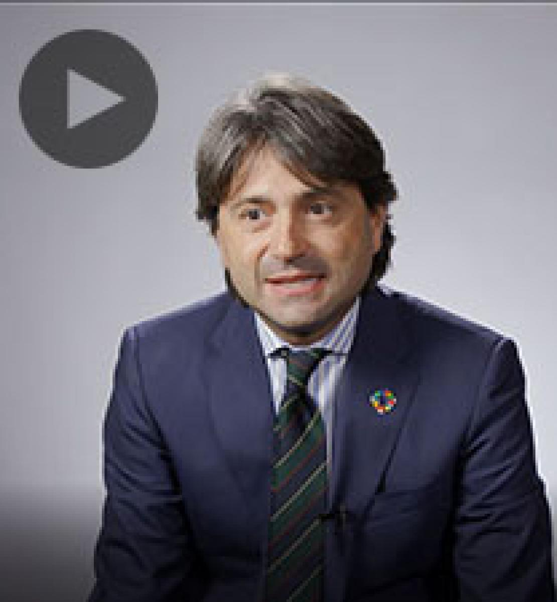 Screenshot from video message shows Resident Coordinator, Gianluca Rampolla