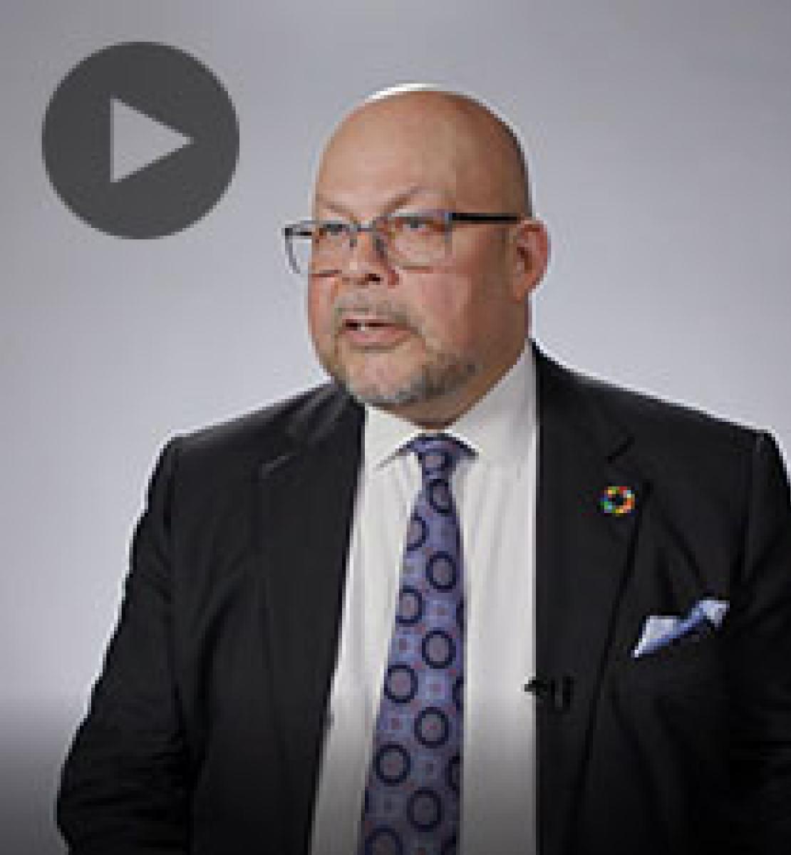 Screenshot from video message shows Resident Coordinator, Sunil Saigal