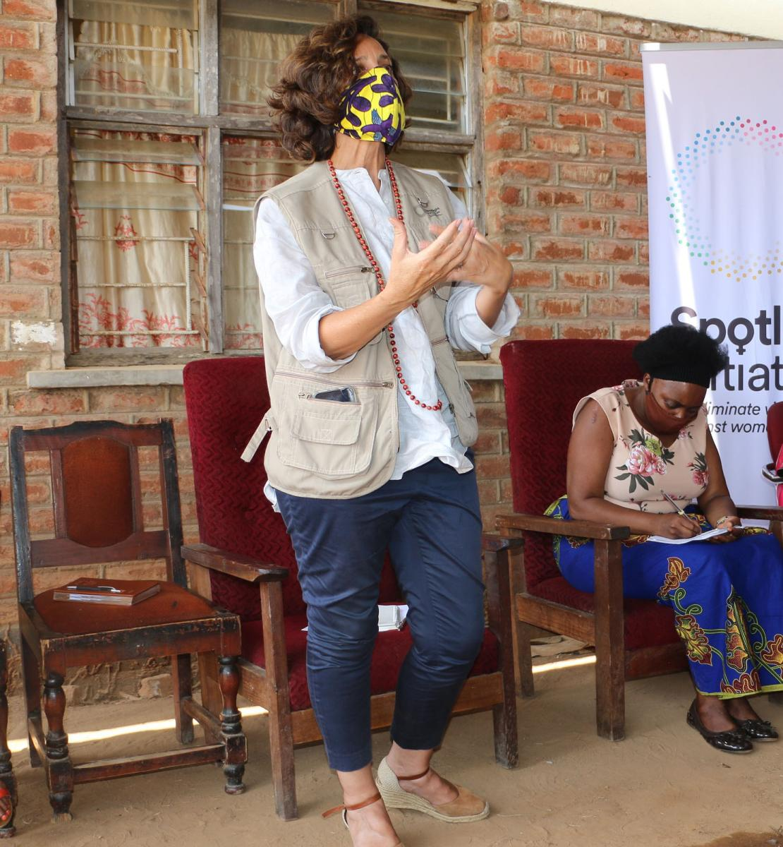 The RC of Malawi, Maria Jose Torres, during a Chief council meeting in Ntchisi.