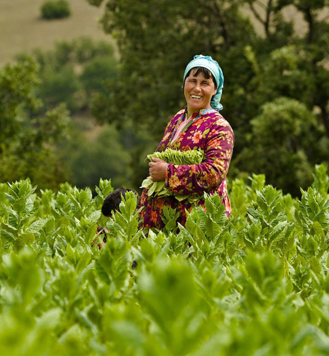 A woman smiles happily as she stands in the middle of a field of crops.