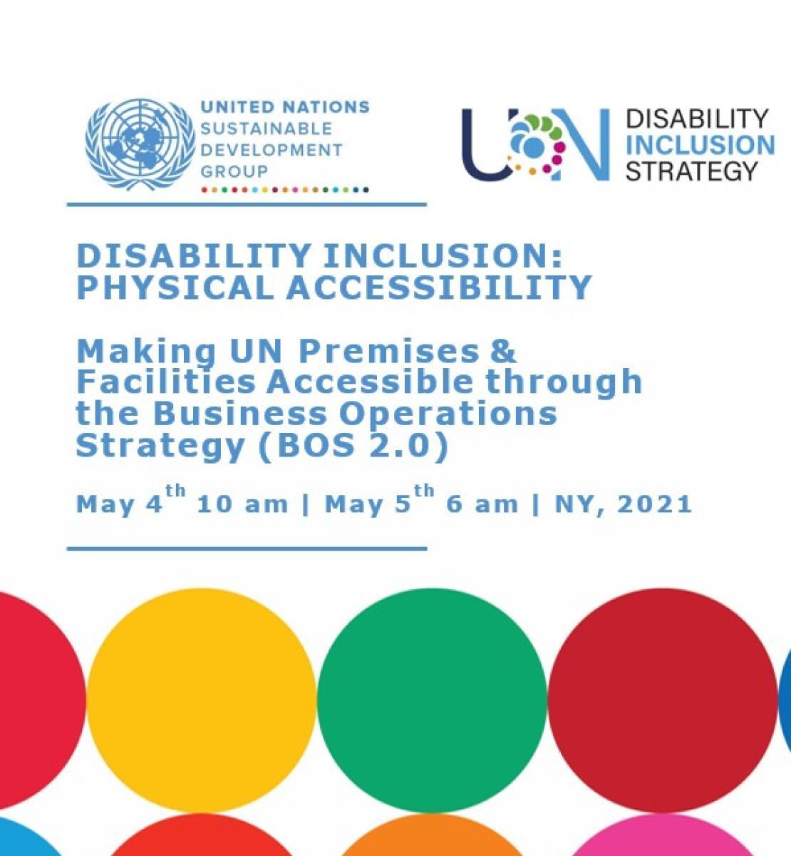 """Page de couverture sur laquelle on peut lire le titre """"Disability inclusion : Physical accessibility"""" et où figurent le logo du GNUDD et une série de cercles aux couleurs vives."""