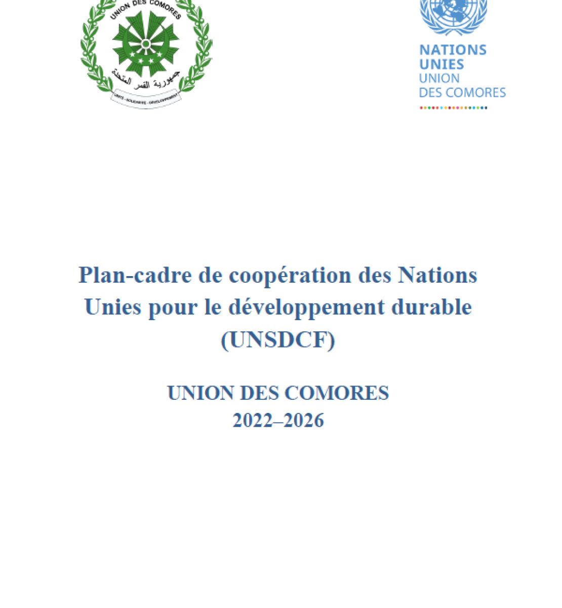 This is a document with a white background and blue text.  The government logo appears on the left and the UNCT logo to the top right.