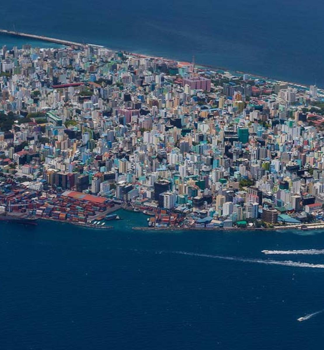 An areal view of the capital city of the Maldives, Malé.