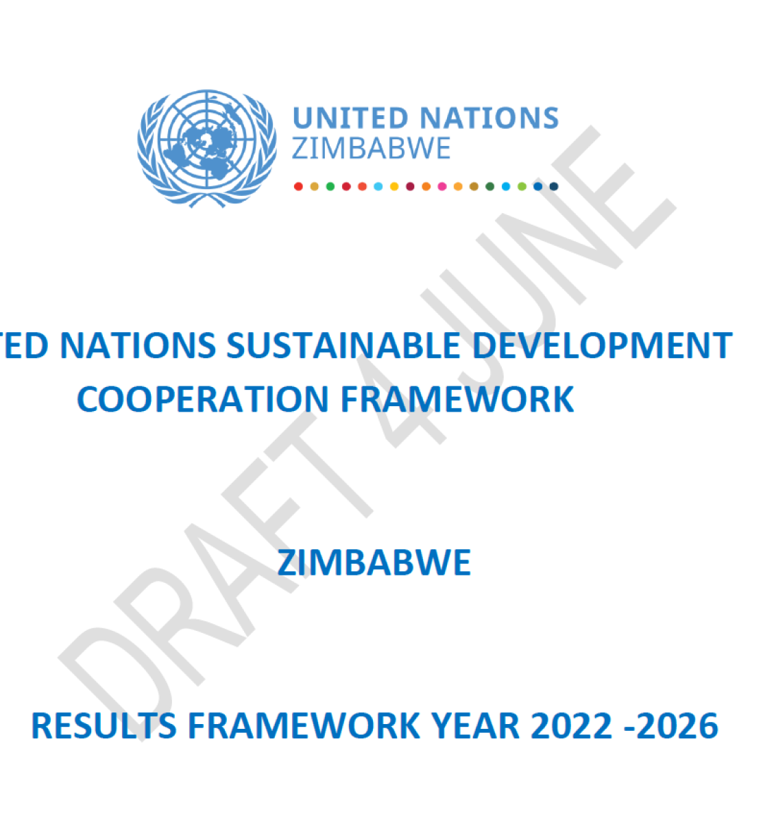 This document has a white background and blue text.  The UN logo appears in the centre of the page.