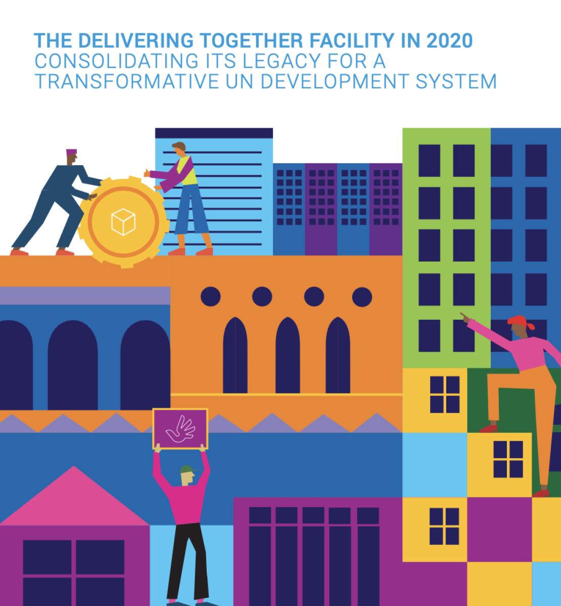 Couverture illustrée d'un rapport montrant plusieurs personnages travaillant ensemble devant des immeubles de différentes hauteurs. Le logo du GNUDD figure dans le coin supérieur droit et le titre du document dans le coin supérieur gauche.