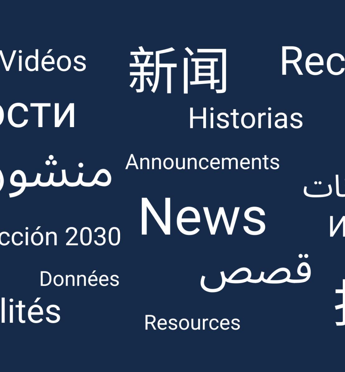 خلفية زرقاء داكنة مع نص أبيض معروض باللغات الإنجليزية والعربية والصينية والفرنسية والإسبانية والروسية.