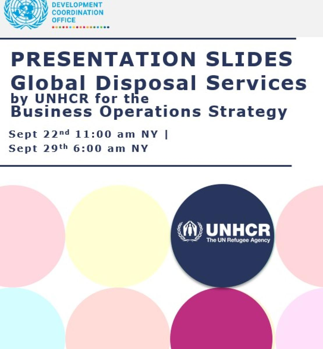 Cover with the title of the document and color circles and the UNSDG and UNHCR logo.