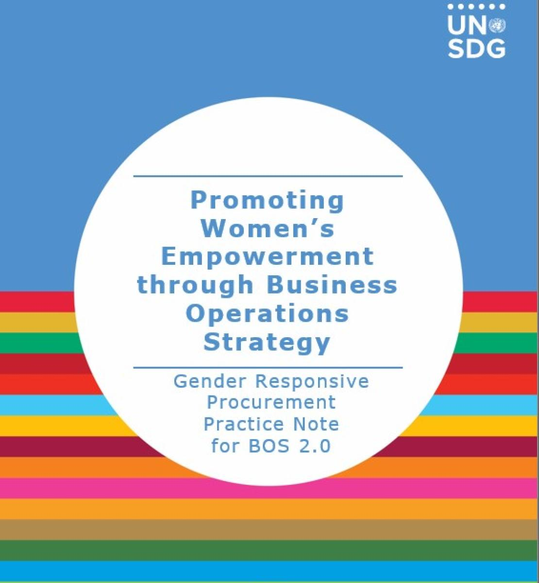 """White circle with the title of the document """"Gender Responsive Procurement"""" and a background of UNSDG colors."""